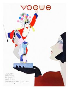 Vogue Cover - September 14 1929 Poster Print by Pierre Mourgue at the Condé Nast Collection