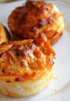 Buffalo Chicken Rolls... Add a generous piece of BACON on top and you'll be in hors d' oeuvres heaven!