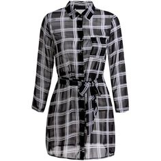 Simple Style Shirt Collar Plaid Printed Waist Tied Mini Dress For... (48 BRL) ❤ liked on Polyvore featuring dresses