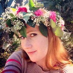Floral Head Piece: Crown of Pink Ranunculus, Baby's Breath, Seeded Eucalyptus, Ivy, and White Wax Flower