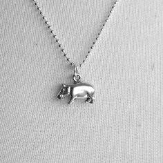 Hippo Necklace Sterling Silver Hippopotamus by GirlBurkeStudios, $25.00