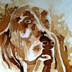 "www.keithwjohnson.com Contact me for commissions or to purchase  my art at draggingsticks@gmail.com Hound Dog Painting 8""x8"" coffee on paper"