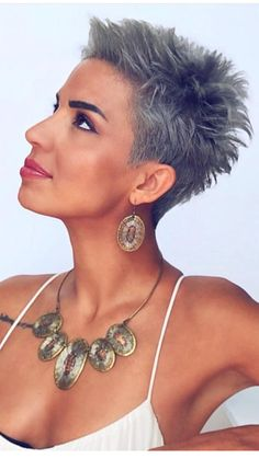 Short Choppy Hair, Funky Short Hair, Super Short Hair, Short Grey Hair, Short Hair Cuts For Women, Short Hair Styles, Very Short Pixie Cuts, Black Hair, Haircut For Thick Hair