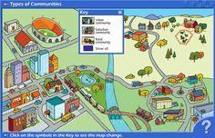 Interactive Map of Types of Communities. This resource helps young students learn about a variety of communities of place - urban, suburban, and rural locations. Teaching Map Skills, Teaching Maps, Teaching Strategies, Student Teaching, Teaching First Grade, Teaching Activities, Classroom Activities, Teaching Ideas, Social Studies Communities