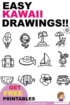 to Draw doodles tips! Summer Doodles Free Practice Sheet Learn how to draw cute kawaii doodles!Learn how to draw cute kawaii doodles! Kawaii Drawings, Doodle Drawings, Doodle Art, Doodle Ideas, Pencil Drawings, Drawing For Kids, Drawing Tips, Learn Drawing, Drawing Ideas
