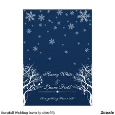 "Snowfall Wedding Invite 5"" X 7"" Invitation Card"