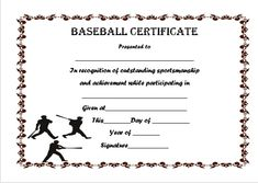 eye catching free printable baseball certificates suitable for kids young atheletes and for any baseball games including tournaments and league matches - Baseball Certificates Templates Free