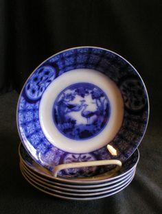 "Set of 6 Johnson Bros Flow Blue ""Mongolia"" Pattern Fruit/Dessert Bowls"