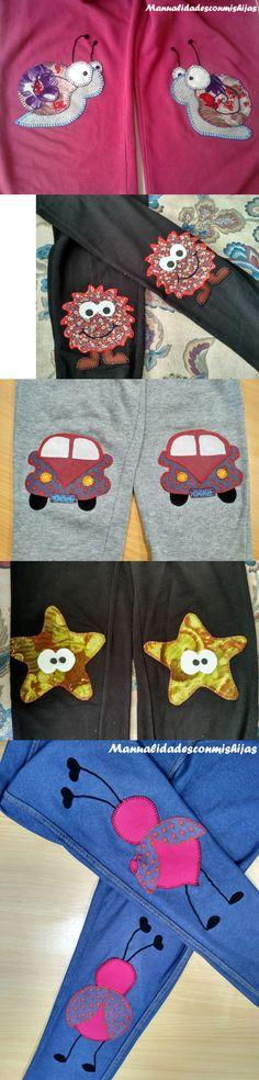 Rodilleras originales para pantalones con retales de telas (tipo patchwork)