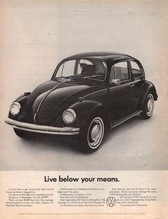 1968 Volkswagen VW Bug Beetle car print ad Live below by Vividiom, $8.00