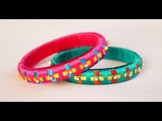 DIY | Multi-color Designer Silk Thread Bangle Making at Home - Two Strand Braid Design - YouTube