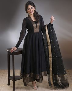 Silk Cotton Anarkali Brocade Border Slim Fit Long Kurta-Black: Buy Fabindia Silk Cotton Anarkali Brocade Border Slim Fit Long Kurta-Black Online in India. – Fabindia.com