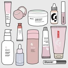 ️ A full Glossier illustration, because can't wait for the brand to ship to France 💕 . Homemade Stickers, Diy Stickers, Printable Stickers, Laptop Stickers, Makeup Stickers, Preppy Stickers, Bubble Stickers, Journal Stickers, Planner Stickers
