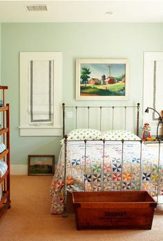 country bedroom - love the quilt, the bed frame, the box at the bottom... just a few tweaks a great boys room really!