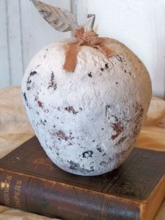 Shabby chic white hand painted apple simple by AnitaSperoDesign, $45.00