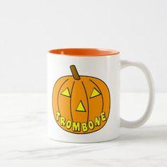 Trombone Halloween Pumpkin Two-Tone Coffee Mug - halloween decor diy cyo personalize unique party