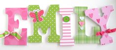 Custom Wooden Letters - GREEN & PINK BUTTERFLY Theme- Nursery Bedroom Home Décor, Wall Decorations, Wood Letters, Personalized. $25.00, via Etsy.