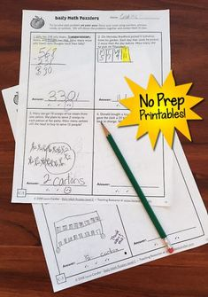 Daily Math Puzzlers Problem Solving - No prep printables! Available in 4 levels… Art Lessons Elementary, Elementary Math, Math Lessons, Upper Elementary, Math Resources, Homeschooling Resources, Math Activities, Math Problem Solving, Daily Math