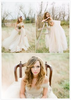 Beautiful off white/beige dress! Photographer: Alea Lovely Fine Art Photographer / Floral Designer: Victorian Gardens / Dress Designer: Alea