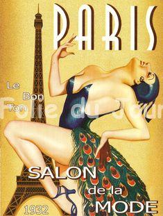 eiffel tower Paris fashion week woman with peacock dress french poster wall decor 1932 Le Bon Ton Salon de la Mode