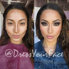 Highlight and contour by DressYourFace using LA Girls Cosmetics HD Pro Concealer in Creamy Beige and Beautiful Bronze and Anastasia Beverly Hills Contour Kit
