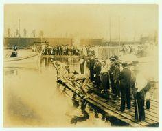 1904 Olympics: Start of 220 yard swim competition.