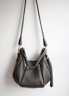 Gray Leather Bag  OPELLE  Ballet Bag  Pebbled by opellecreative, $258.00