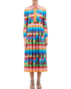 Valentino Rainbow Check & Stripe Shirtdress