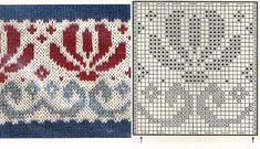 Knitting: Jacquard or Fair Isle, – knitting charts Fair Isle Knitting Patterns, Knitting Charts, Knitting Stitches, Knitting Designs, Knit Patterns, Free Knitting, Sock Knitting, Knitting Tutorials, Stitch Patterns