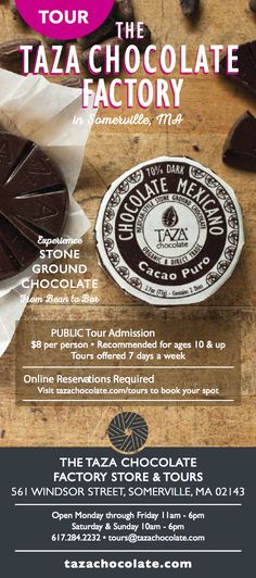 Looking for something to do around #Boston this summer? Come tour the Taza Chocolate Factory!