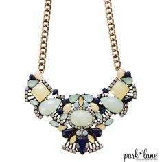 "LOTUS BLOSSOM NECKLACE  Opalescent aqua glass gems with clear and navy accents elaborately arranged on a burnished golden chain. 16""+3  - See more at: https://parklanejewelry.com/store/product/lotus-blossom-necklace#sthash.Z008aXOy.dpuf"