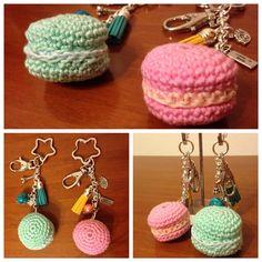 Handmade macaron crochet keychain.