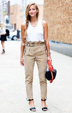 Street Style, white tank top, tan high waisted pants, black ankle sandals