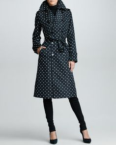 Polka-Dot Trench Coat, Black/Ivory by Ralph Lauren Black Label at Bergdorf Goodman.
