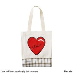 Love red heart tote bag