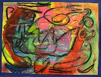 """There's a Dragon in my Art Room: 2nd grade chalk pastel abstract """"painting""""..Fabulous"""