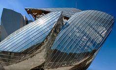 close-up of fondation louis vuitton by frank gehry in bois de boulogne park, paris