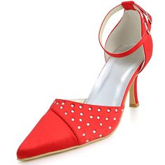"""Red Dyeable Charming 3.5""""  Sequins & Pointed Toe Sandals - Party shoes (12 Colors)"""
