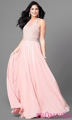 Long Chiffon Prom Gown with Embellished Bodice