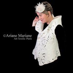 White wedding nuno felt art vest floral wool by ArianeMariane
