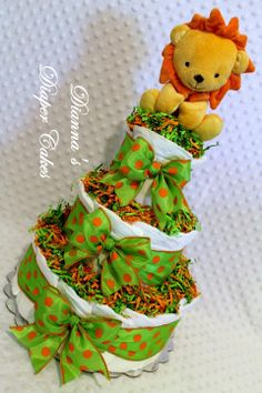Lion Rattle Baby Diaper Cake Shower Gift or Centerpiece by Dianna's Diaper Cakes www.diannasdiapercakes.etsy.com