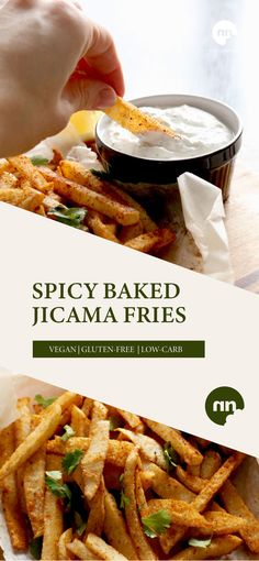 Jicama is an amazing replacement for starch heavy potatoes. These Spicy Baked Jicama Fries are simple to prep and taste amazing with a yogurt dipping sauce. Cod Recipes Oven, Baked Salmon Recipes, Eggplant Recipes, Bean Recipes, Easy Chicken Recipes, Veggie Recipes, Healthy Dinner Recipes, Chicken Soups, Snacks Recipes