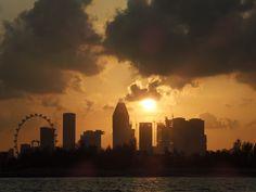 Sunset over Singapore.