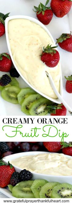 Creamy Orange Fruit Dip Super easy recipe for a delicious orange fruit dip made with cream cheese, orange zest, orange juice, cream and confectioners' sugar. It is the best! Brownie Desserts, Oreo Dessert, Mini Desserts, Coconut Dessert, Dessert Dips, Summer Desserts, Cheese Fruit, Cheese Dishes, Fruit Dishes