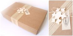 Eco-chic style gift box. Craft paper, linen yarn, wooden Christmas ornament - snowflake. www.ijk.lt