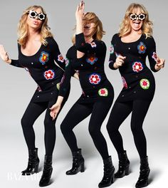Goldie Hawn poses in Moschino Couture sweater dress, Markus Lupfer x Linda Farrow sunglasses, Falke tights and Giuseppe Zanotti booties Go Go Dancing, Dancing Day, Linda Farrow Sunglasses, Celebrity Photography, Goldie Hawn, Terry Richardson, Old Actress, Harpers Bazaar, Fashion Shoot