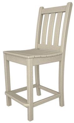Polywood TGD101SA Traditional Garden Counter Side Chair in Sand