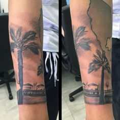 Take a trip to paradise with these top 100 best palm tree tattoos for men. Explore warm weathers, tropical sunsets and enjoy sip of cool coconut from above. Tree Tattoo Men, Tree Tattoo Designs, Leg Tattoos, Sleeve Tattoos, Private Tattoos, Ocean Shores, Cool Tattoos For Guys, Tropical Design, Palm Trees