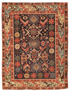 Antique Kuba Rug 45100  http://nazmiyalantiquerugs.com/antique-rugs/caucasian-rugs-antique-caucasian-carpets/