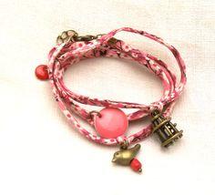 bracelet cordon liberty misti rose fleuri, cage oiseau : Bracelet par petits-pois-et-baluchon